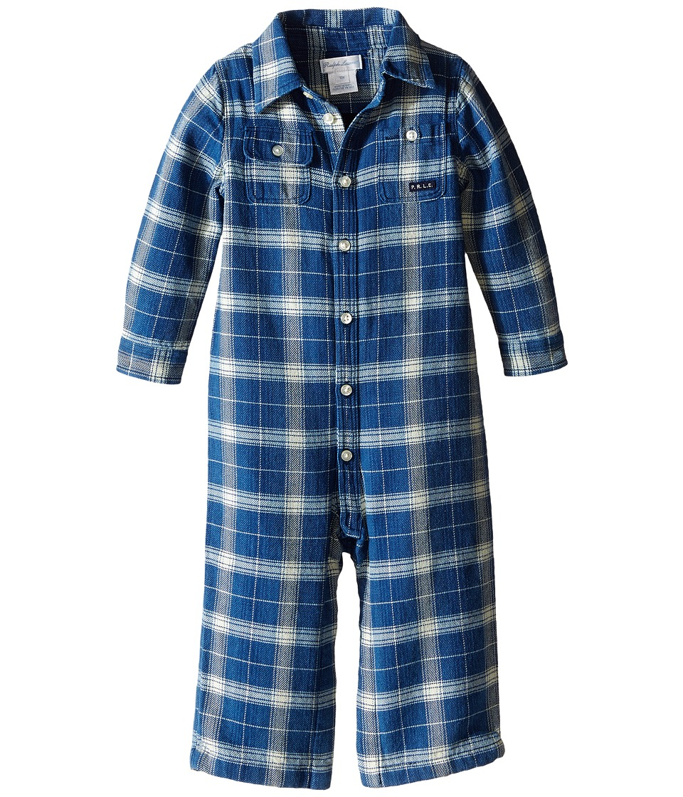 Ralph Lauren Baby - Vintage Twill Matlock One-Piece Coveralls (Infant) (Blue/Cream Multi) Boy's Overalls One Piece