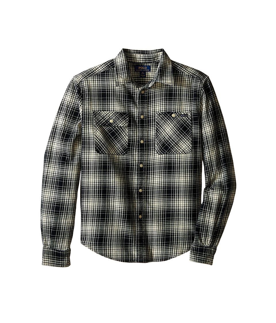 Polo Ralph Lauren Kids - Vintage Twill Matlock Shirt (Big Kids) (Black/Cream Multi) Boy's Clothing