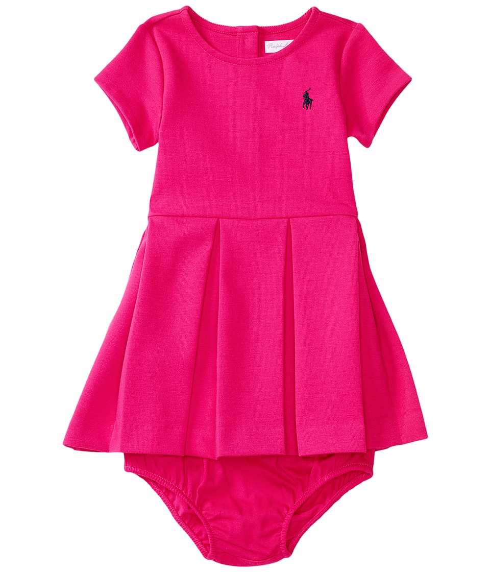 Ralph Lauren Baby - Ponte Short Sleeve Pleated Dress (Infant) (Sport Pink) Girl's Dress