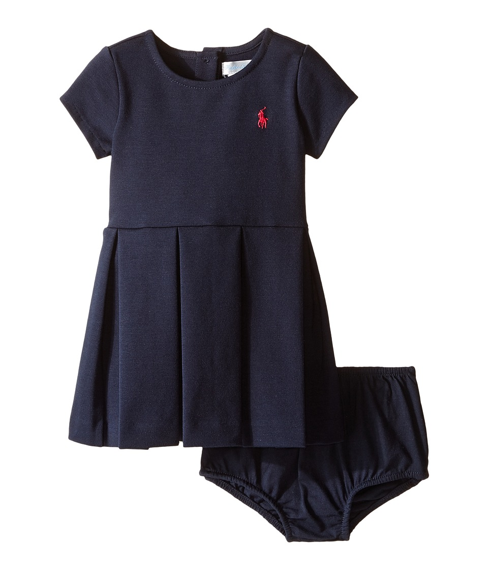 Ralph Lauren Baby - Ponte Short Sleeve Pleated Dress (Infant) (Aviator Navy) Girl's Dress