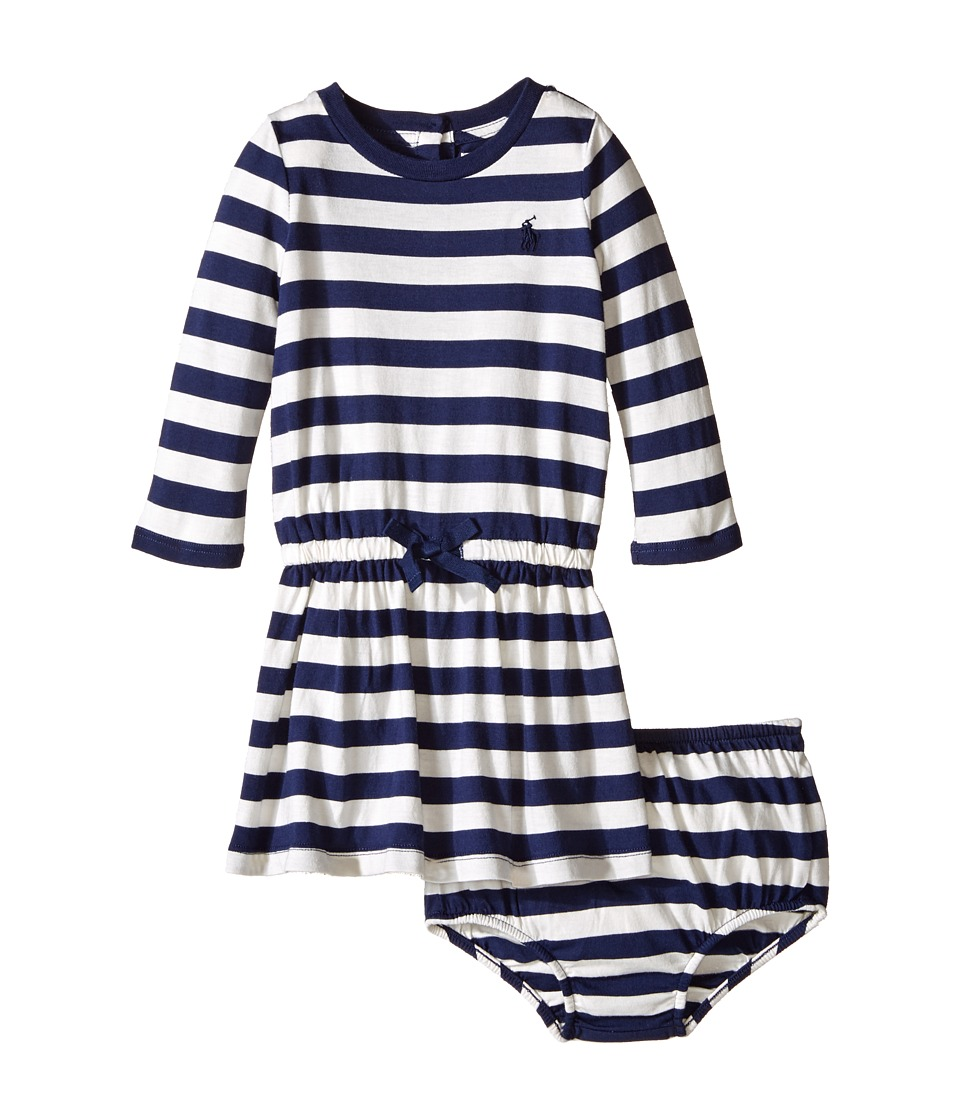 Ralph Lauren Baby - Tri-Blend Jersey Stripe Dress (Infant) (Newport Navy/Antique Cream) Girl's Dress