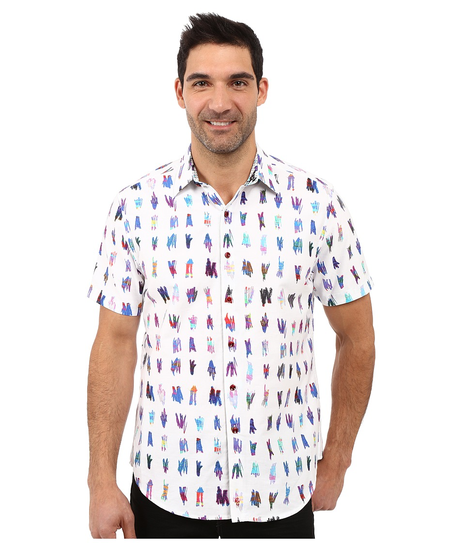 Robert Graham - Saline Lakes Short Sleeve Woven Shirt (White) Men's Short Sleeve Button Up