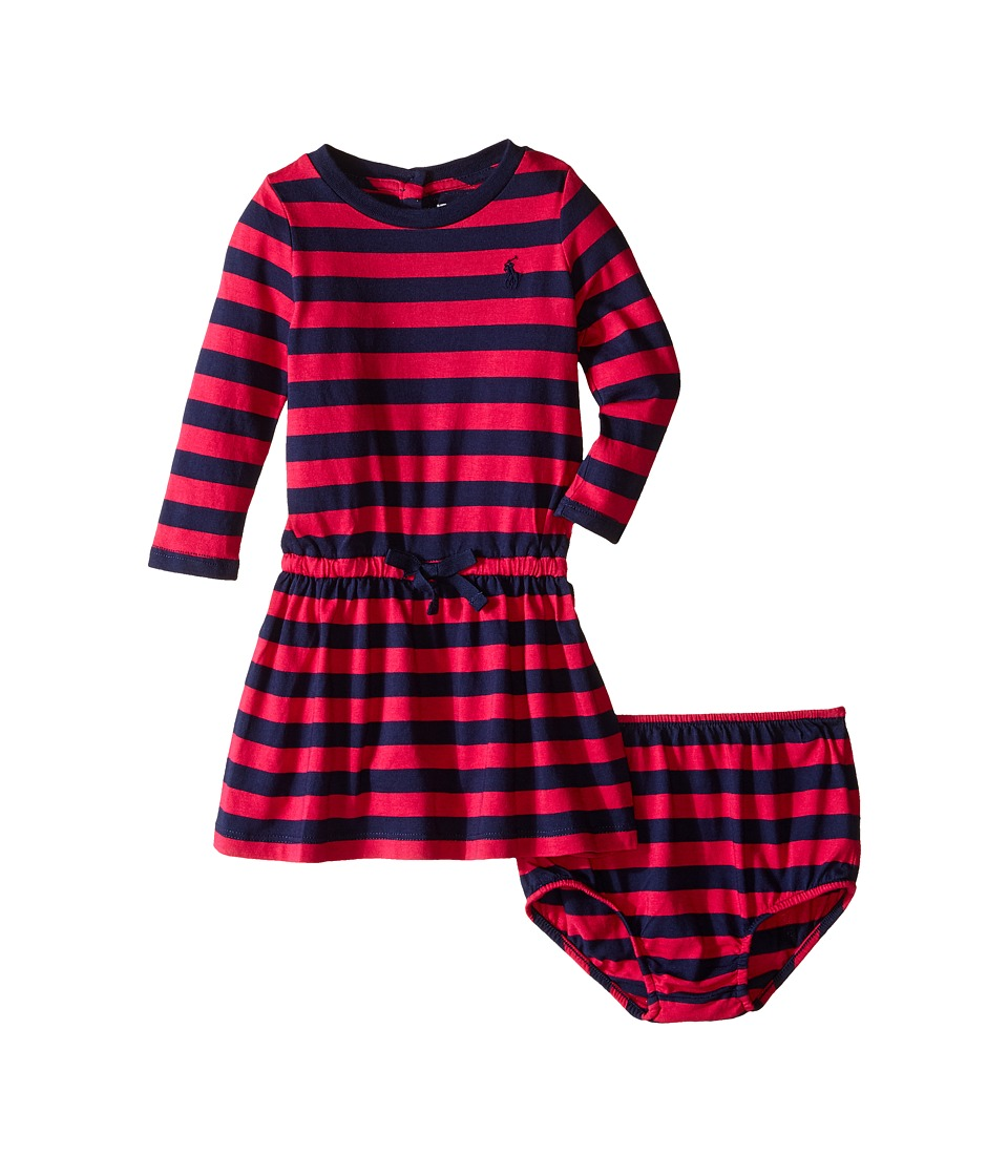 Ralph Lauren Baby - Tri-Blend Jersey Stripe Dress (Infant) (Sport Pink/Newport Navy) Girl's Dress