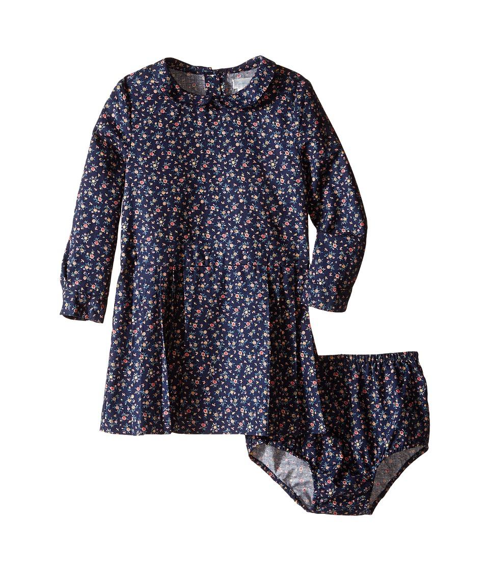 Ralph Lauren Baby - Brushed Twill Floral Dress (Infant) (Navy/Pink Multi) Girl's Dress