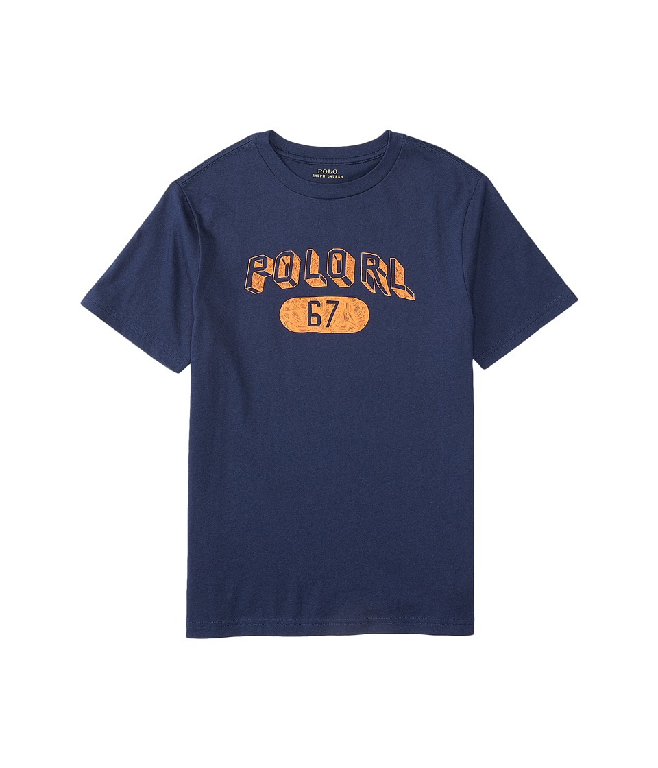 Polo Ralph Lauren Kids - 30/1 Jersey Graphic Tee (Big Kids) (French Navy) Boy's T Shirt