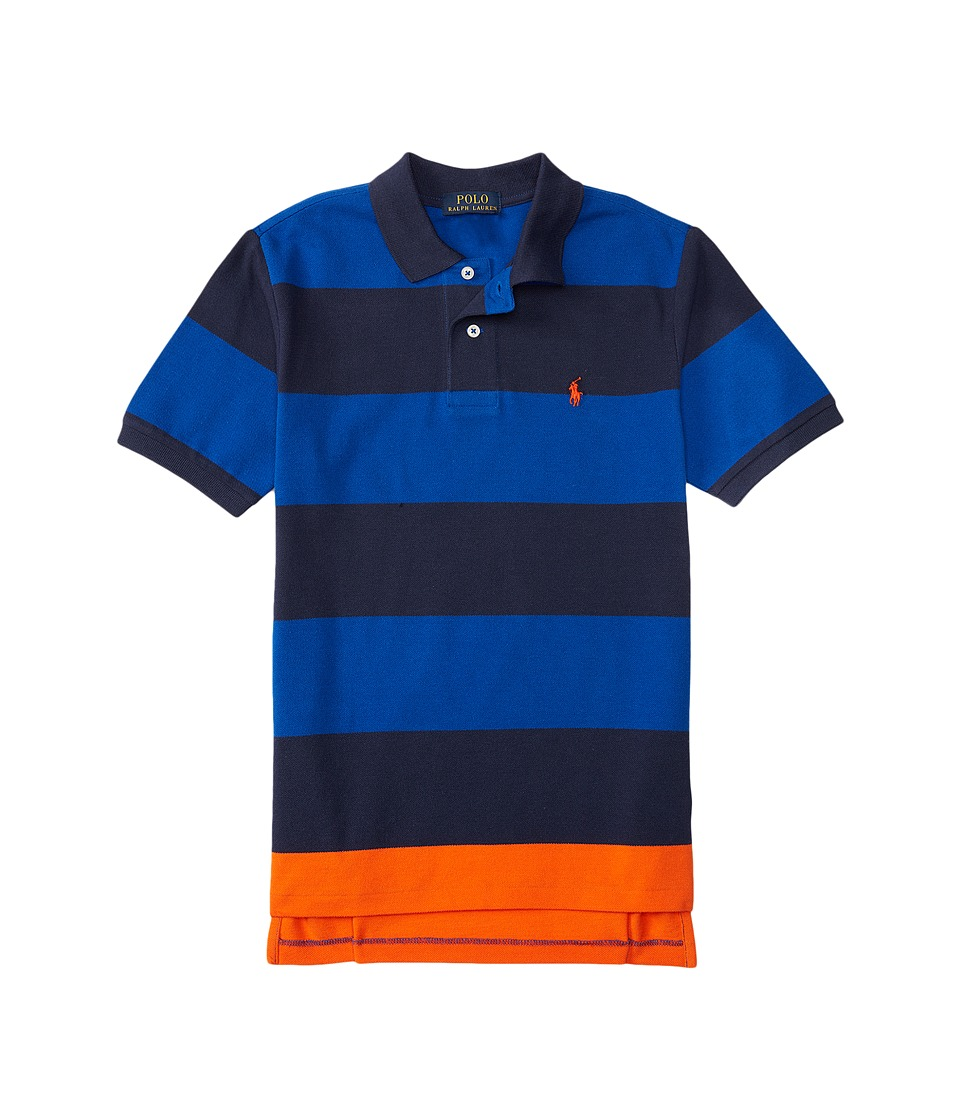Polo Ralph Lauren Kids - Yarn-Dyed Mesh Stripe Polo Shirt (Big Kids) (Sapphire Star Multi) Boy's Short Sleeve Knit