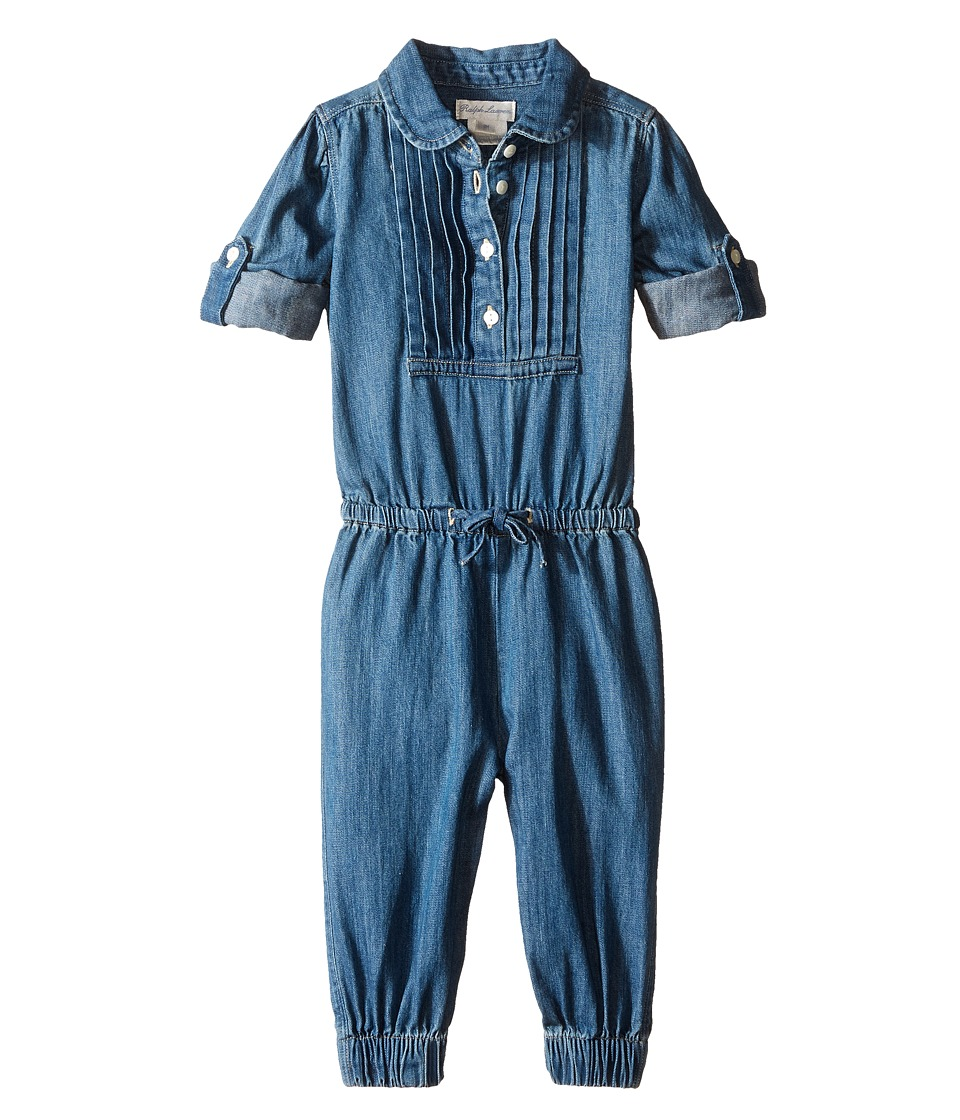 Ralph Lauren Baby - Lightweight Denim One-Piece Coveralls (Infant) (Quincy Wash) Girl's Overalls One Piece