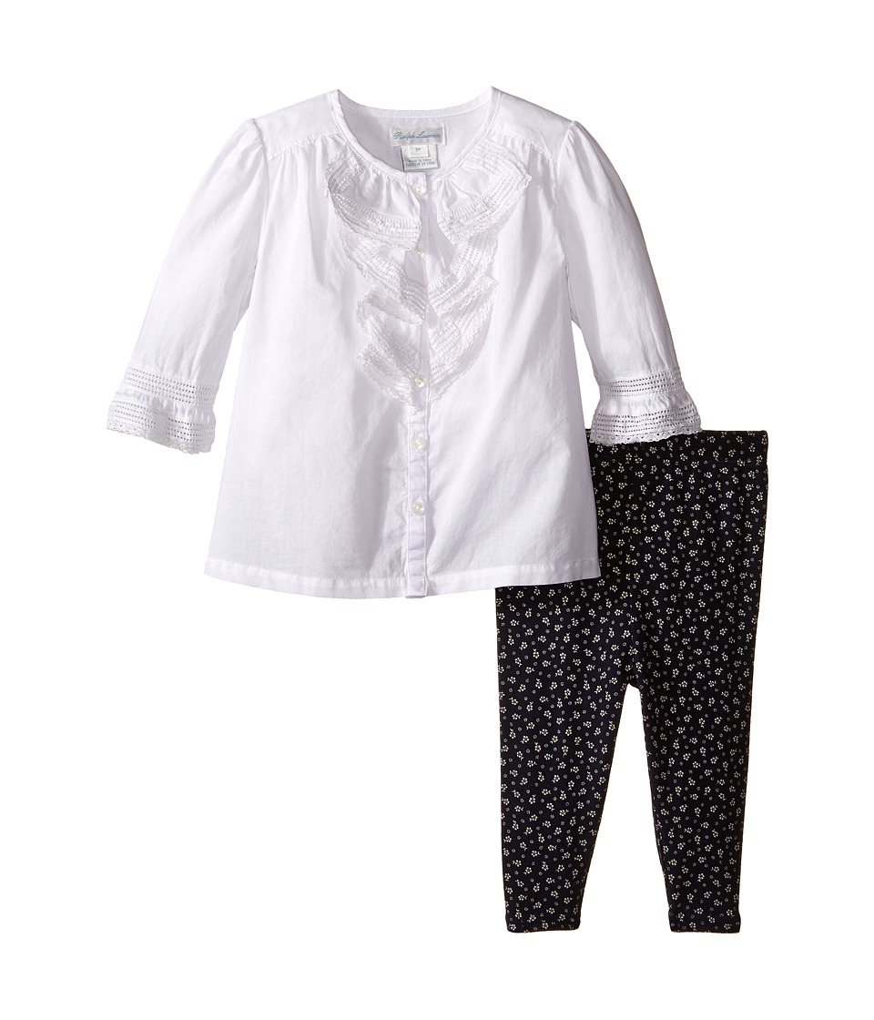 Ralph Lauren Baby - Cotton Ruffle Top Leggings Set (Infant) (White) Girl's Active Sets