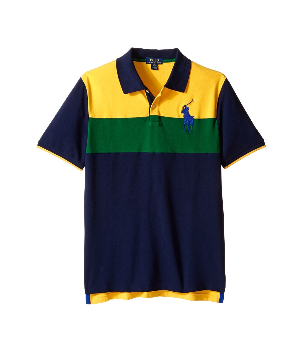 Polo Ralph Lauren Kids - Mesh Novel Polo Shirt (Big Kids) (Gold Bugle Multi) Boy's Short Sleeve Knit