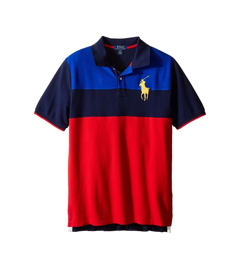 Polo Ralph Lauren Kids - Mesh Novel Polo Shirt (Big Kids) (Casino Red Multi) Boy's Short Sleeve Knit