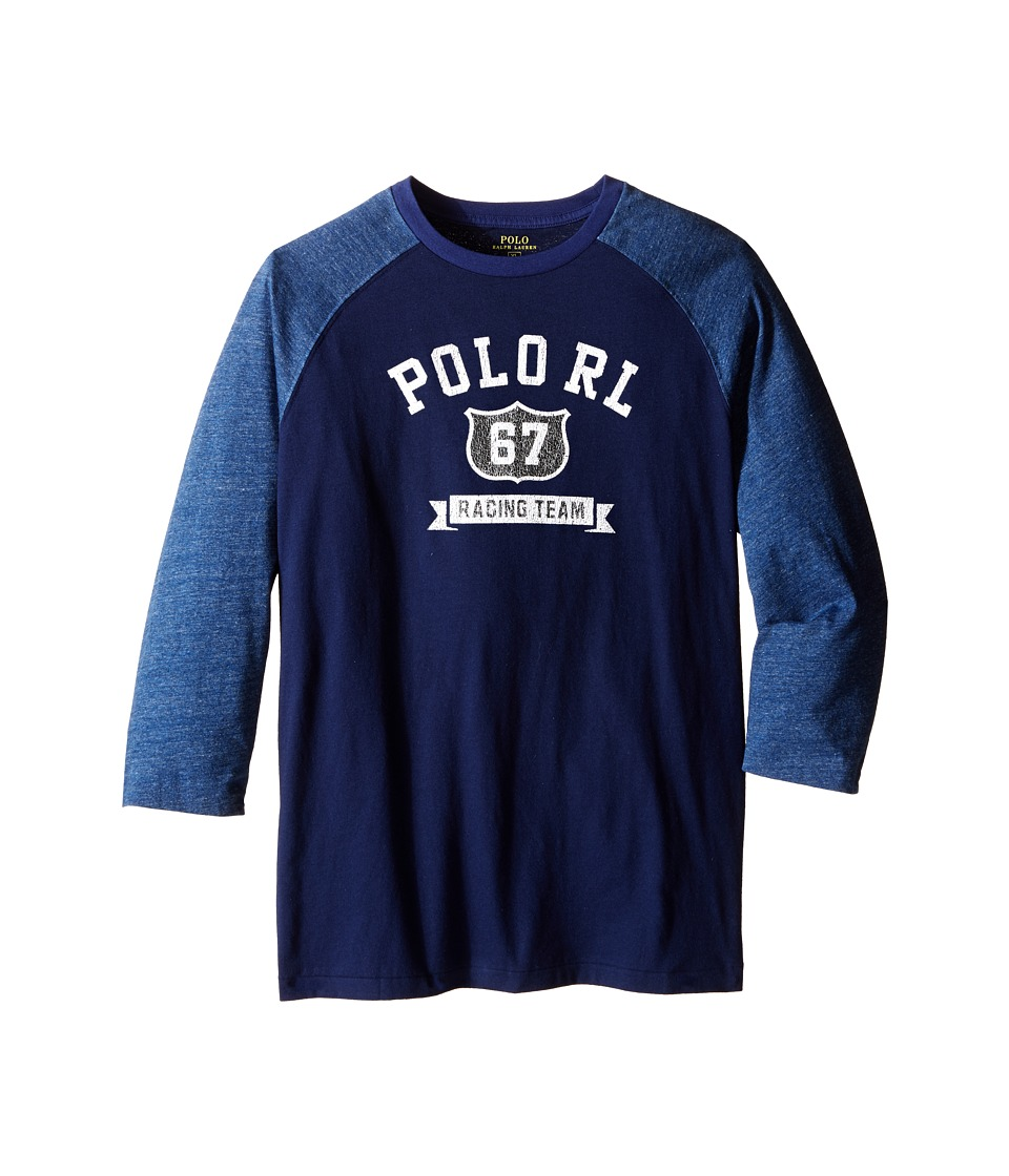 Polo Ralph Lauren Kids - Cotton Jersey Baseball Tee (Big Kids) (Blue Mood) Boy's T Shirt