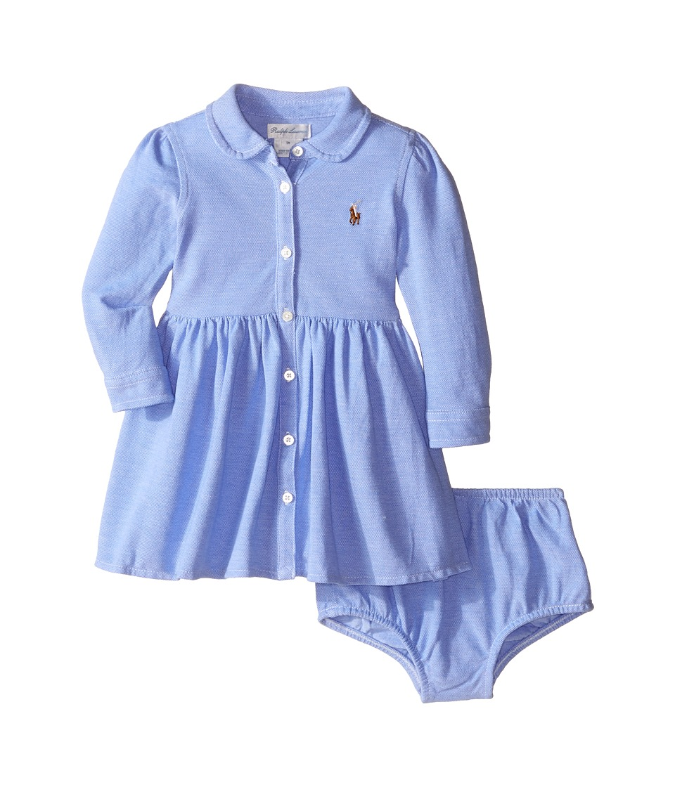 Ralph Lauren Baby - Knit Oxford Shirtdress (Infant) (Harbor Island Blue/White) Girl's Dress