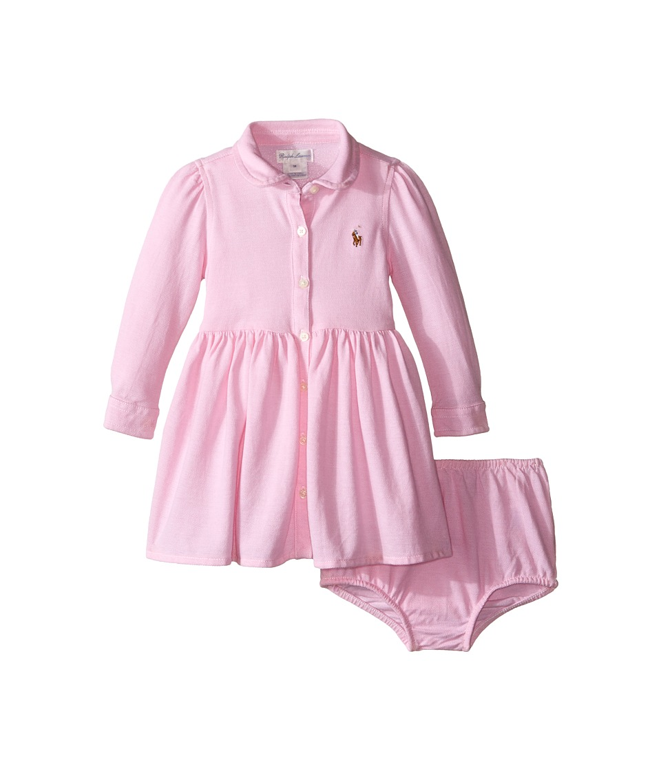 Ralph Lauren Baby - Knit Oxford Shirtdress (Infant) (Carmel Pink/White) Girl's Dress