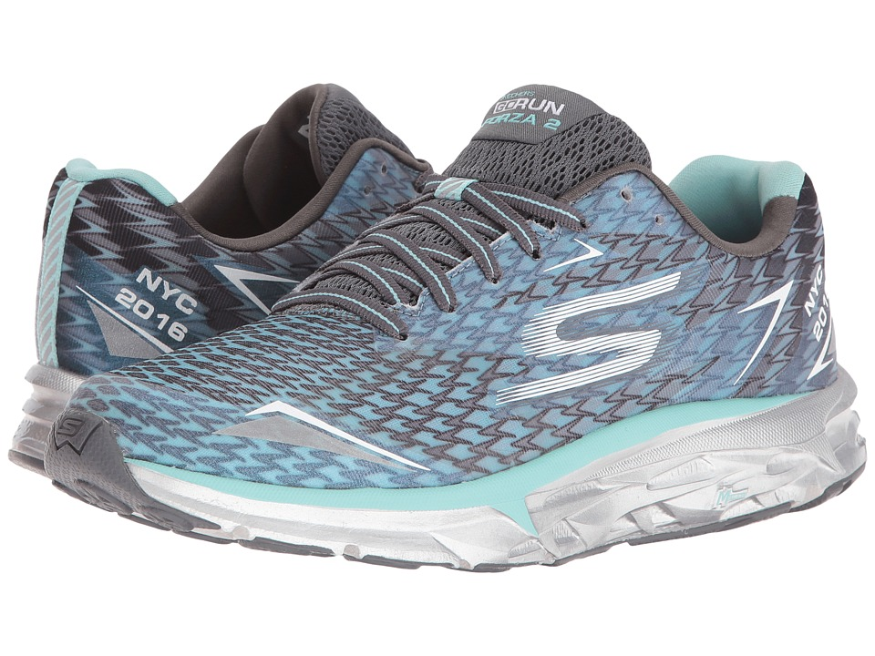 SKECHERS - Go Run Forza - NYC 16 (Gray/Blue) Women's Running Shoes
