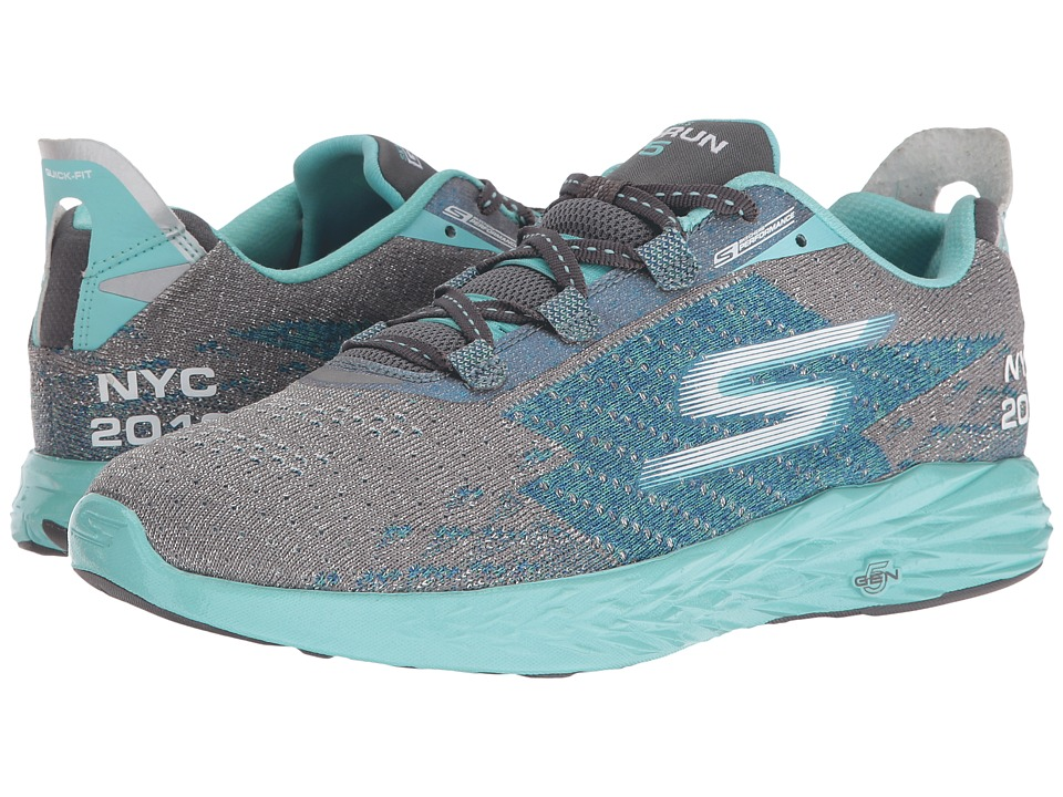 SKECHERS - Go Run 5 - NYC 16 (Gray/Blue) Women's Running Shoes