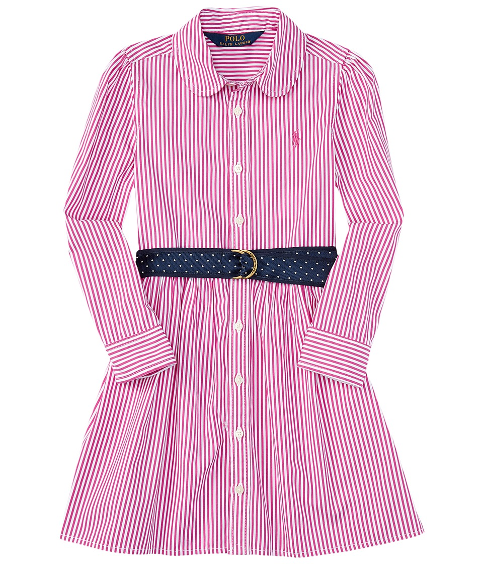 Polo Ralph Lauren Kids - Yarn-Dyed Bengal Stripe Dress (Toddler) (Pink/White) Girl's Dress