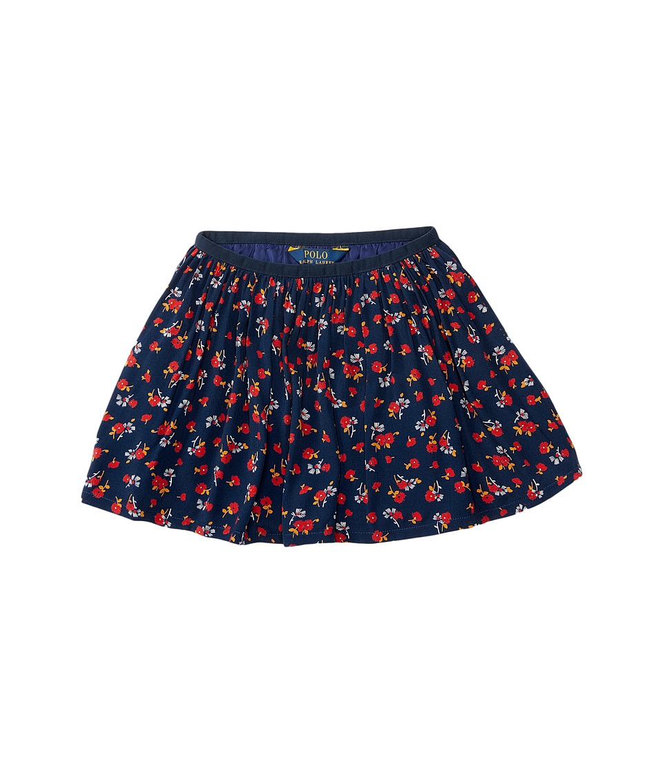 Polo Ralph Lauren Kids - Cotton Flounce Skirt (Toddler) (Navy/Red Multi) Girl's Skirt