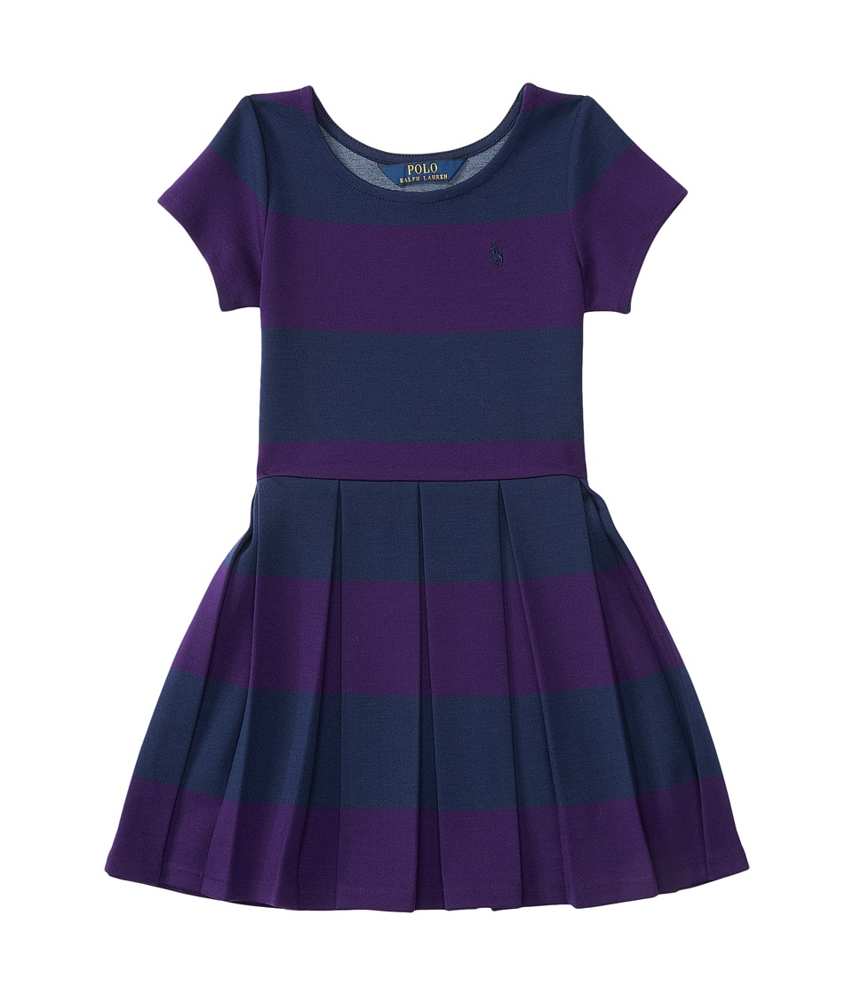 Polo Ralph Lauren Kids - Ponte Stripe Dress (Toddler) (College Purple/Newport Navy) Girl's Dress