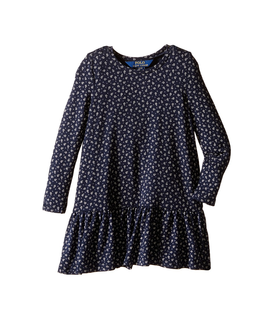 Polo Ralph Lauren Kids - Modal Jersey Floral Dress (Toddler) (Navy/Cream) Girl's Dress