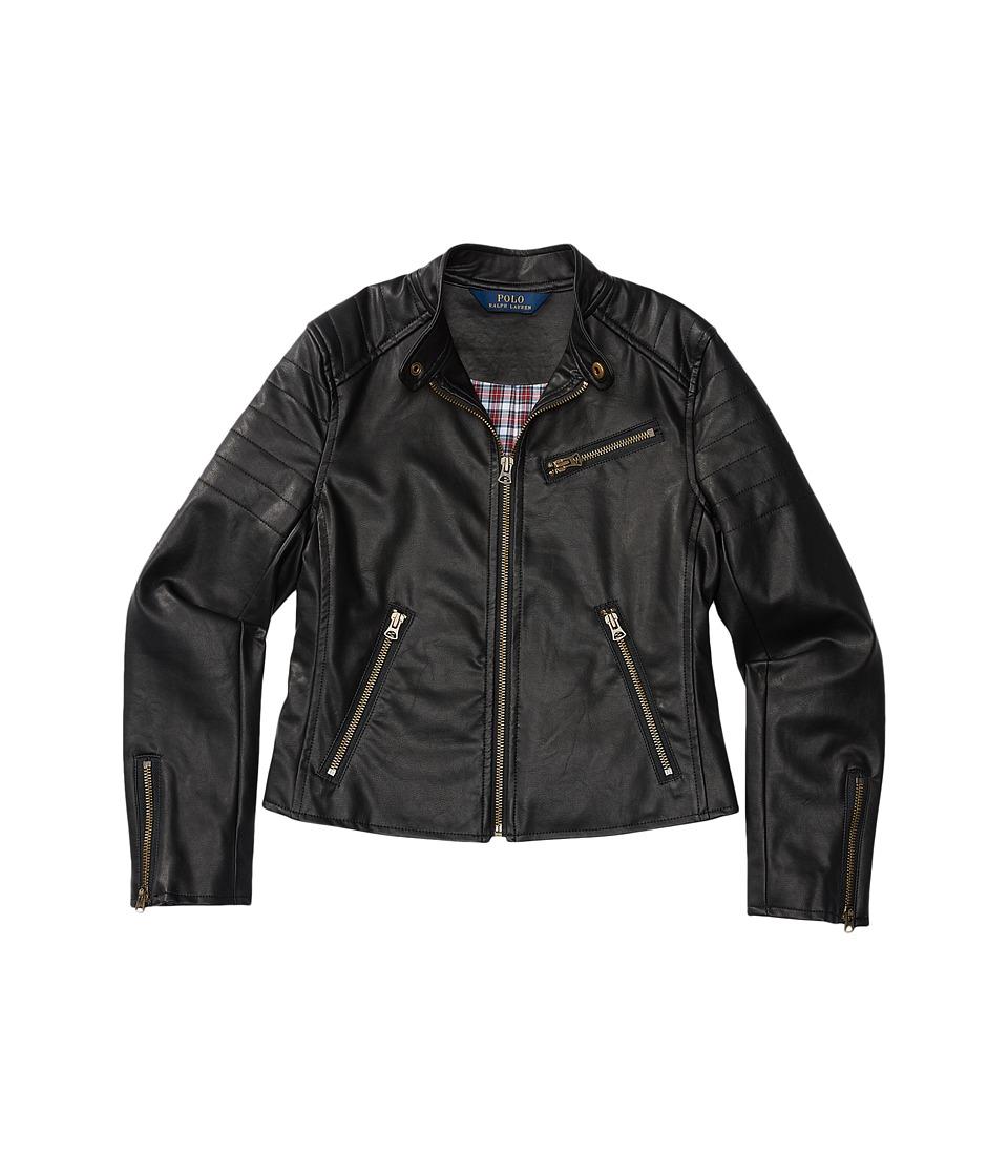 Polo Ralph Lauren Kids - Vegan Leather Jacket (Little Kids) (Polo Black) Girl's Coat