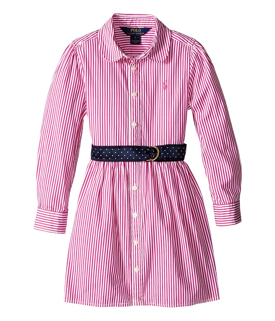 Polo Ralph Lauren Kids - Yarn-Dyed Bengal Stripe Dress (Little Kids) (Pink/White) Girl's Dress