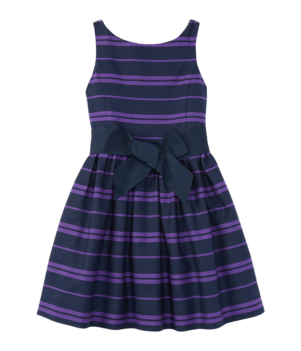 Polo Ralph Lauren Kids - Cotton Sateen Fit and Flare Dress (Little Kids) (Newport Navy/Tropic Purple) Girl's Dress