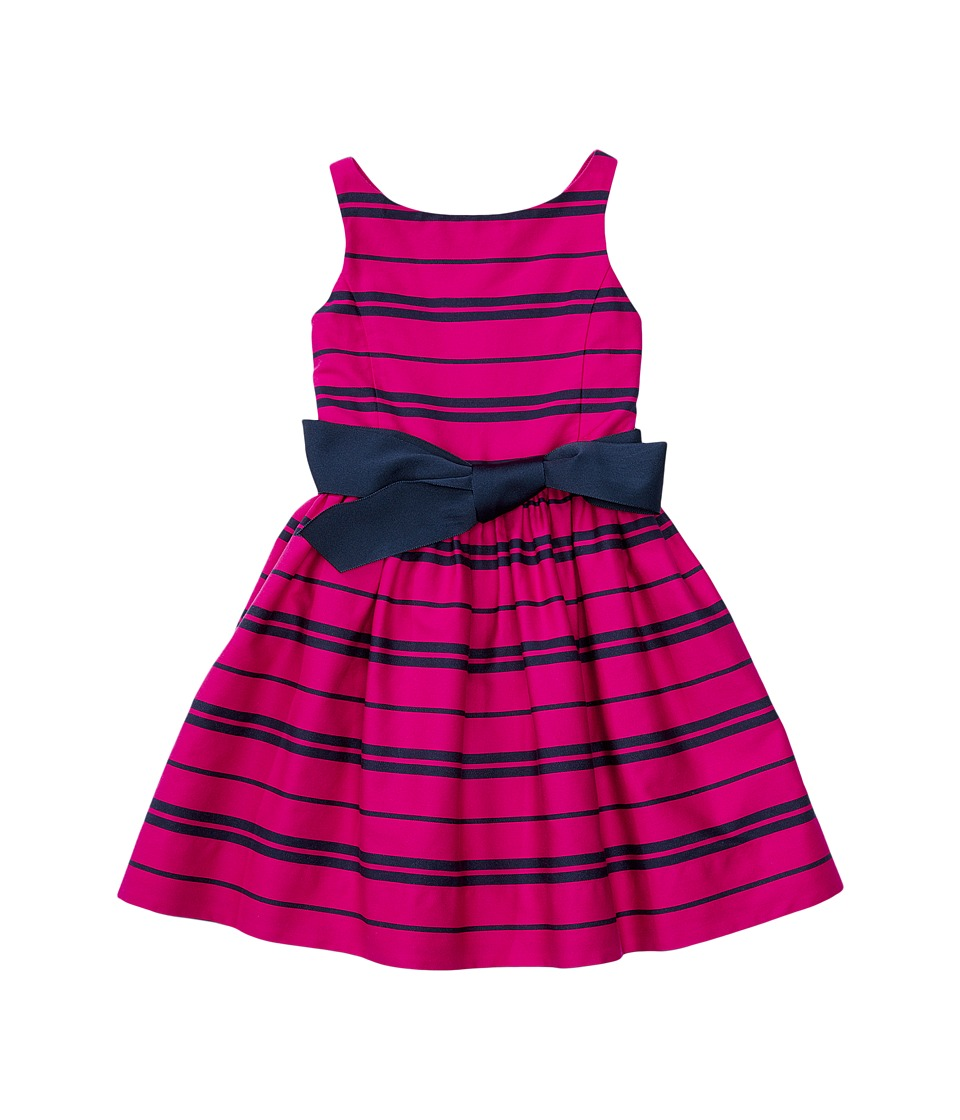 Polo Ralph Lauren Kids - Cotton Sateen Fit and Flare Dress (Little Kids) (Sport Pink/Newport Navy) Girl's Dress