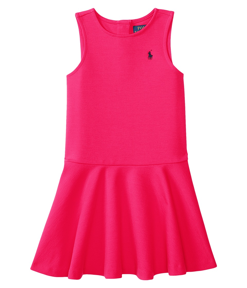 Polo Ralph Lauren Kids - Ponte Short Sleeve Pleated Dress (Little Kids) (Sport Pink) Girl's Dress