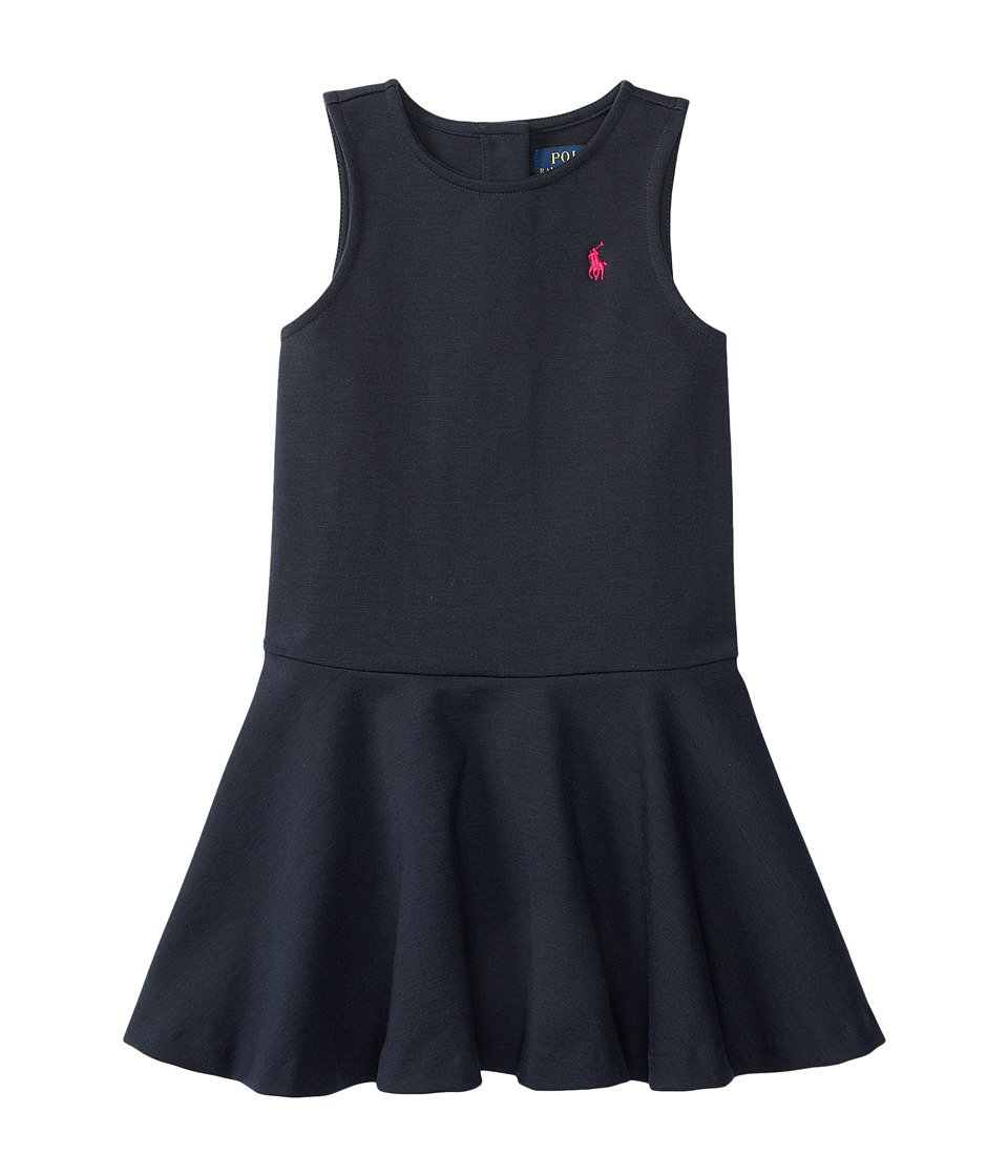 Polo Ralph Lauren Kids - Ponte Short Sleeve Pleated Dress (Little Kids) (Aviator Navy) Girl's Dress