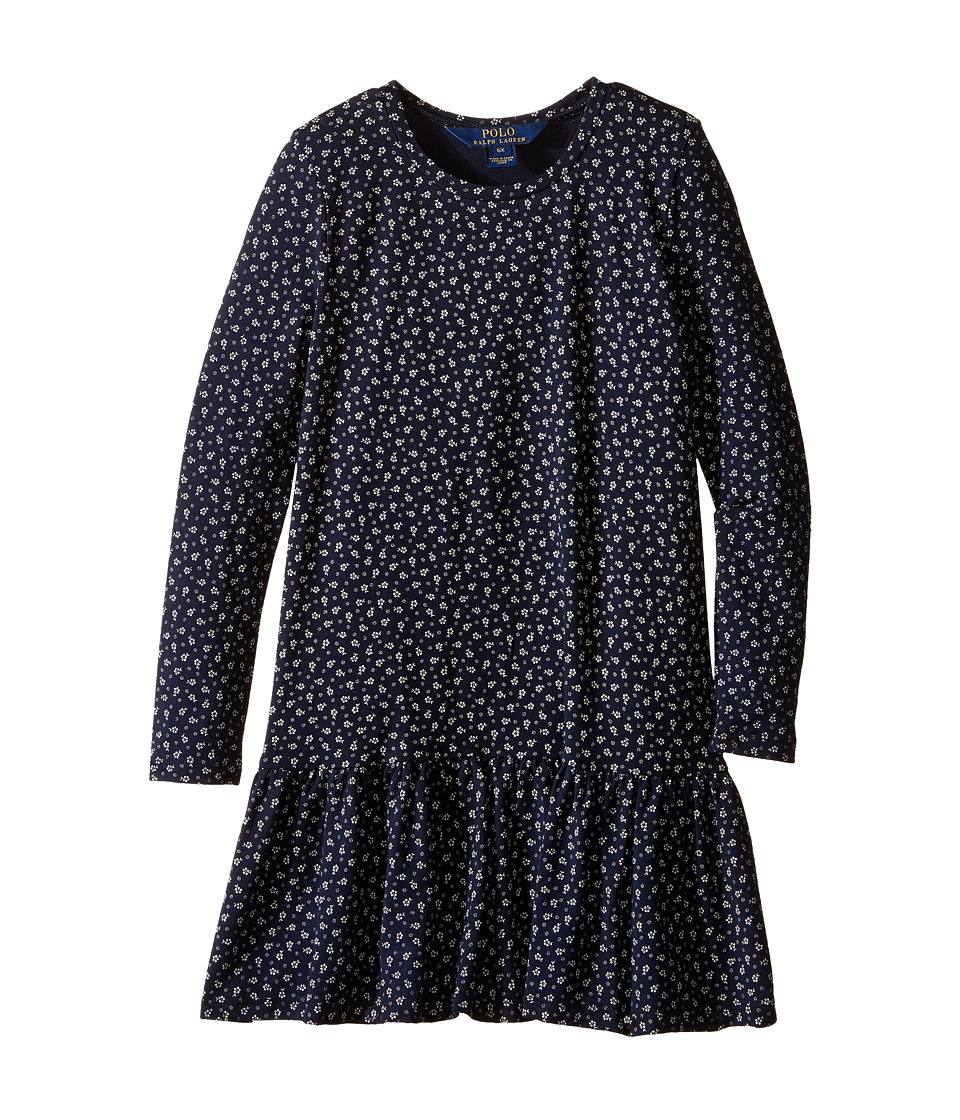 Polo Ralph Lauren Kids - Modal Jersey Floral Dress (Little Kids) (Navy/Cream) Girl's Dress