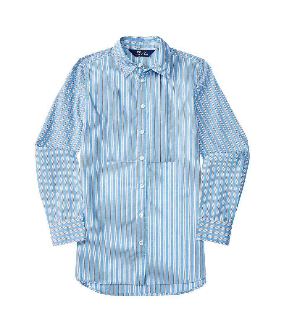 Polo Ralph Lauren Kids - Yarn-Dyed Cotton Poplin Stripe Tunic (Big Kids) (Blue/White Multi) Girl's Clothing