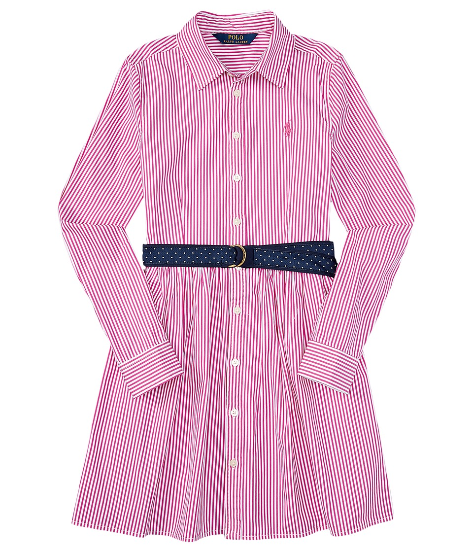 Polo Ralph Lauren Kids - Yarn-Dyed Bengal Stripe Dress (Big Kids) (Pink/White) Girl's Dress