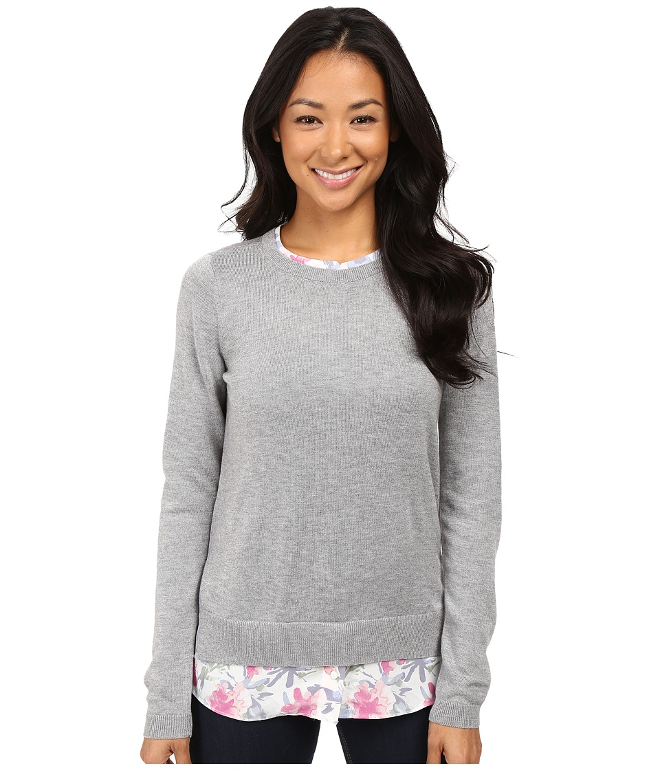 NYDJ Petite - Petite Mixed Media Crew Neck Sweater (Eliza Floral) Women's Sweater