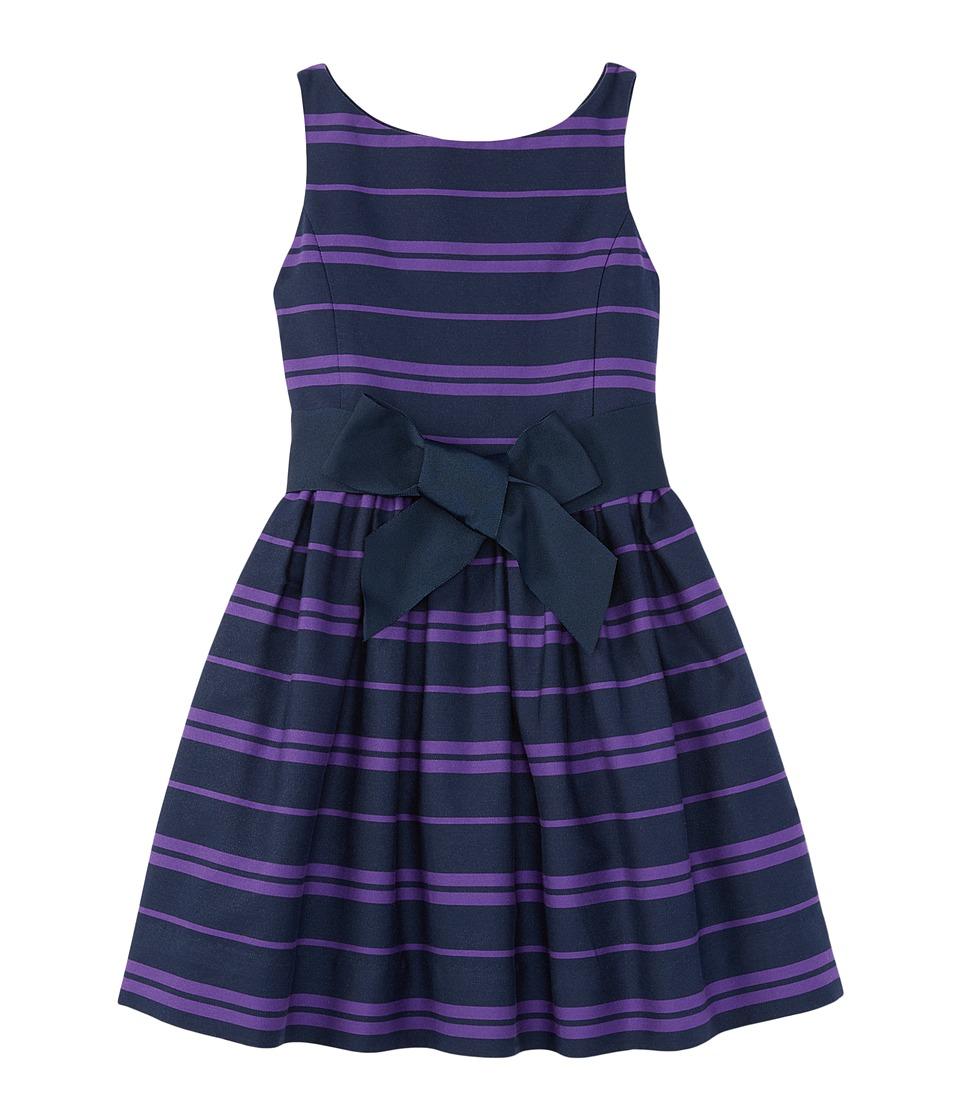 Polo Ralph Lauren Kids - Cotton Sateen Fit and Flare Dress (Big Kids) (Newport Navy/Tropic Purple) Girl's Dress