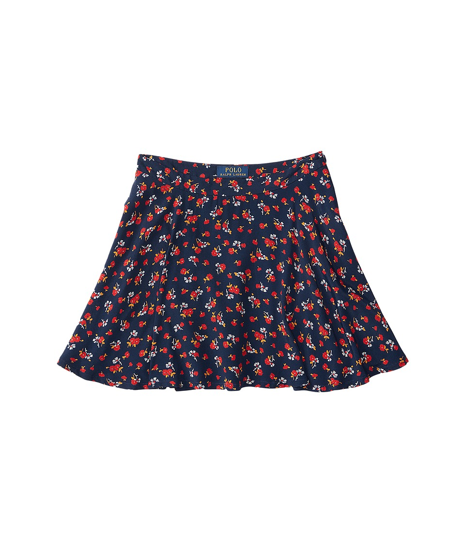 Polo Ralph Lauren Kids - Cotton Flounce Skirt (Big Kids) (Navy/Red Multi) Girl's Skirt