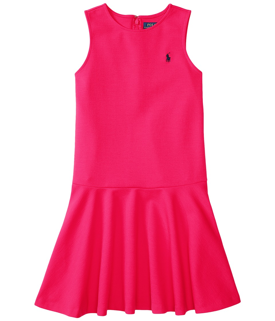 Polo Ralph Lauren Kids - Ponte Short Sleeve Pleated Dress (Little Kids/Big Kids) (Sport Pink) Girl's Dress