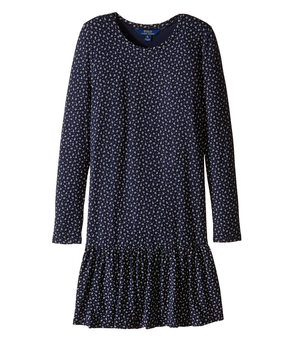 Polo Ralph Lauren Kids - Modal Jersey Floral Dress (Little Kids/Big Kids) (Navy/Cream) Girl's Dress