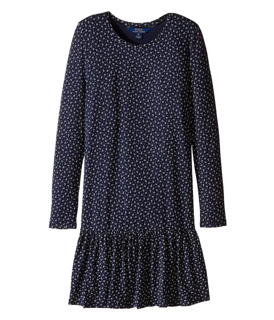 Polo Ralph Lauren Kids - Modal Jersey Floral Dress (Little Kids/Big Kids) (Navy/Cream) Girl's Dress
