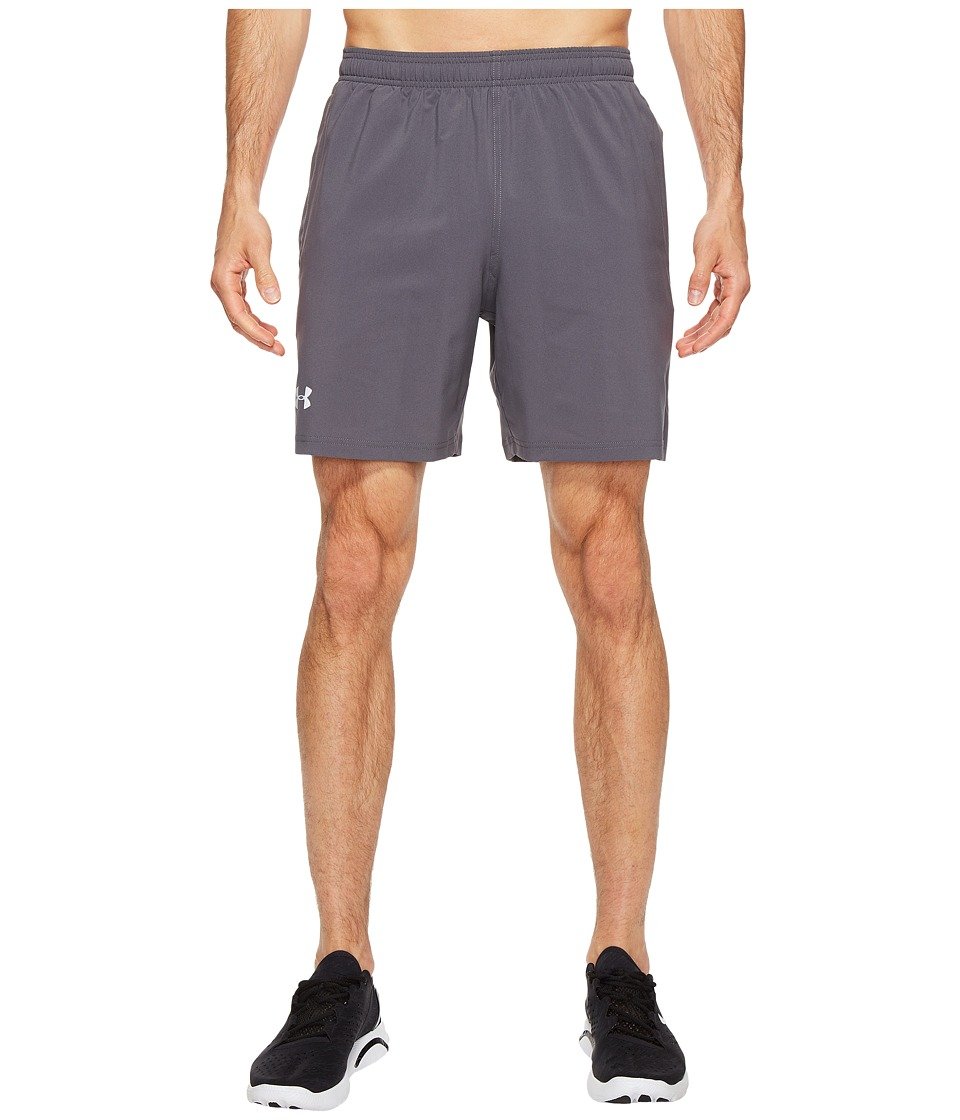 Under Armour - UA Launch Stretch Woven 7 Shorts (Rhino Gray/Phoenix Fire) Men's Shorts