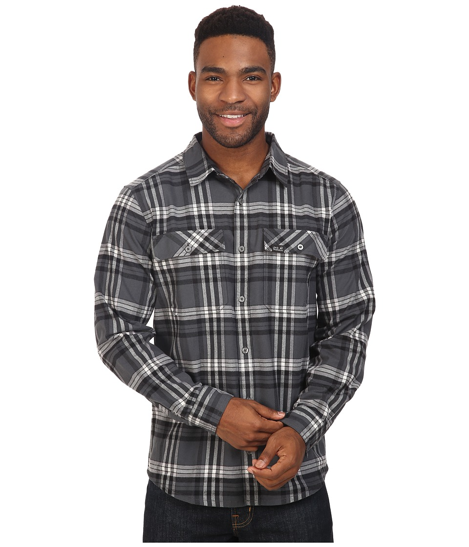Jack Wolfskin - Valley Shirt (Dark Iron Checks) Men's Clothing