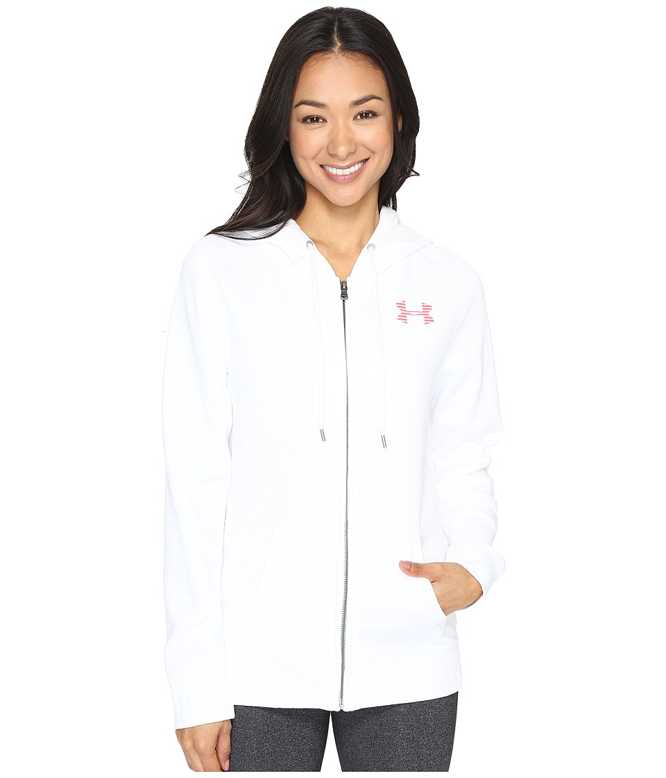 Under Armour - Favorite Fleece Full Zip (White/Pomegranate) Women's Fleece