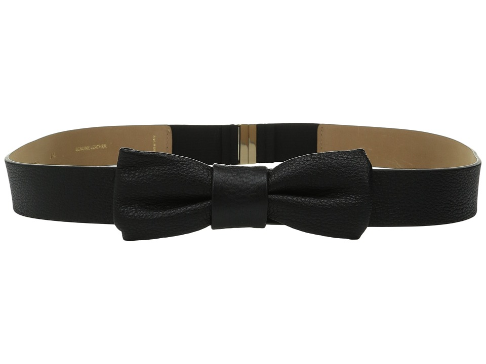 Kate Spade New York - 1 1/4 Shrunken Leather Bow Belt (Black/Gold) Women's Belts