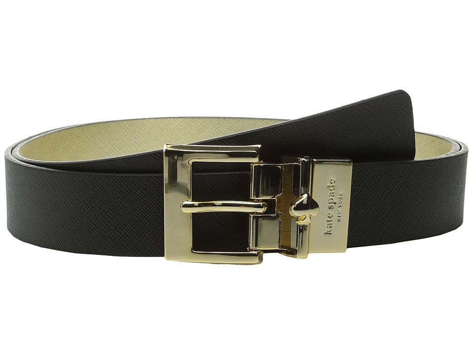 Kate Spade New York - 1 Saffiano Reversible Belt (Black/Gold) Women's Belts