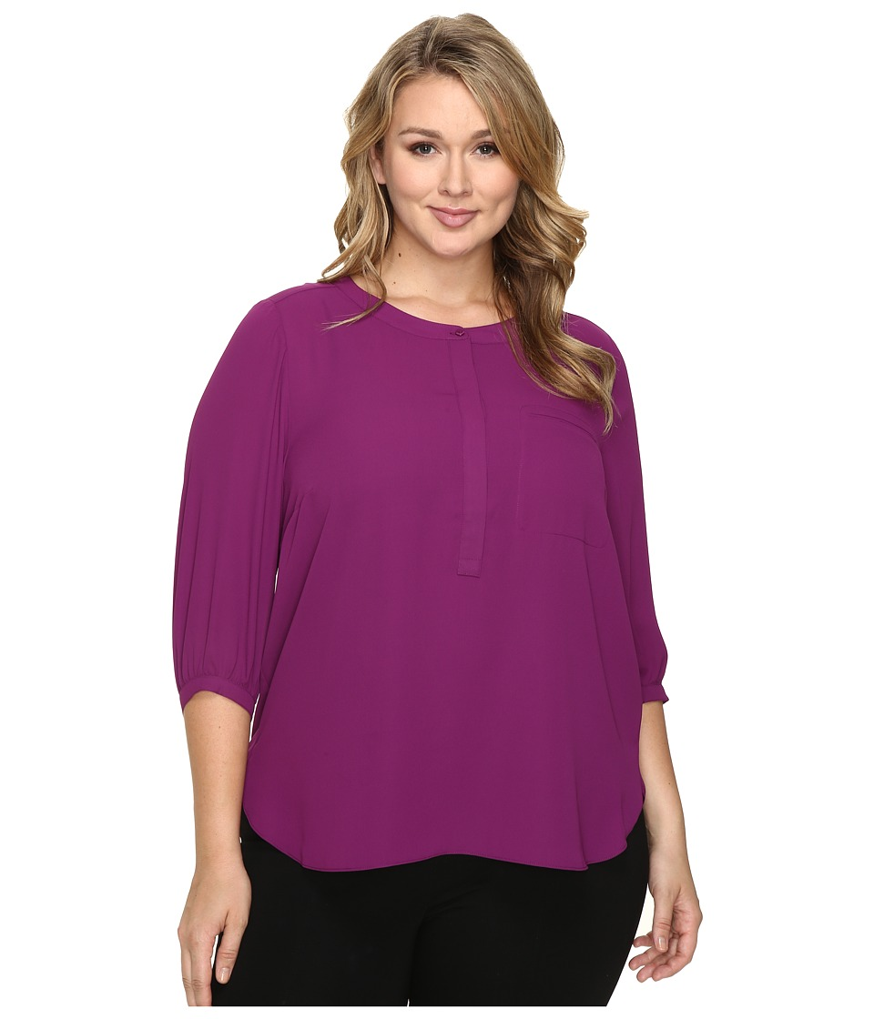NYDJ Plus Size - Plus Size Solid 3/4 Sleeve Pleat Back (Dark Currant) Women's Long Sleeve Button Up