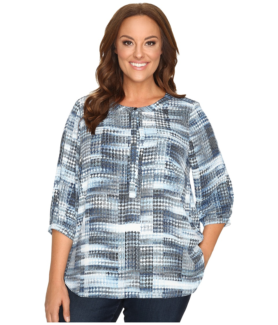 NYDJ Plus Size - Plus Size Solid 3/4 Sleeve Pleat Back (Lady Luck Houndstooth) Women's Long Sleeve Button Up