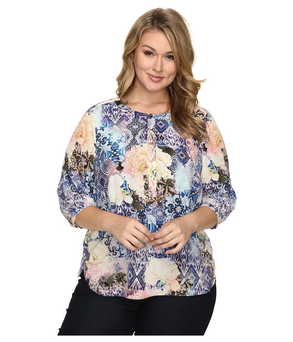 NYDJ Plus Size - Plus Size Solid 3/4 Sleeve Pleat Back (Morroccan Rose) Women's Long Sleeve Button Up