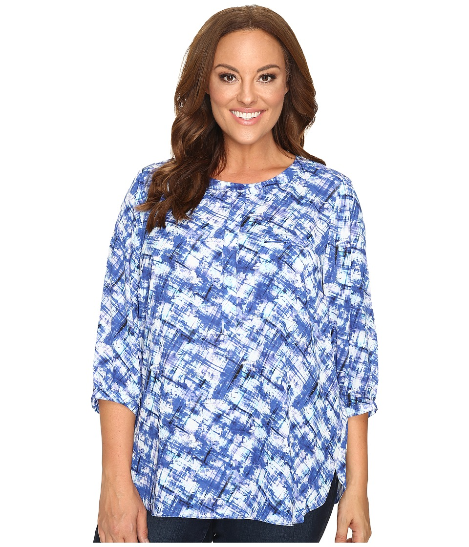 NYDJ Plus Size - Plus Size Solid 3/4 Sleeve Pleat Back (Wonderland Haze) Women's Long Sleeve Button Up