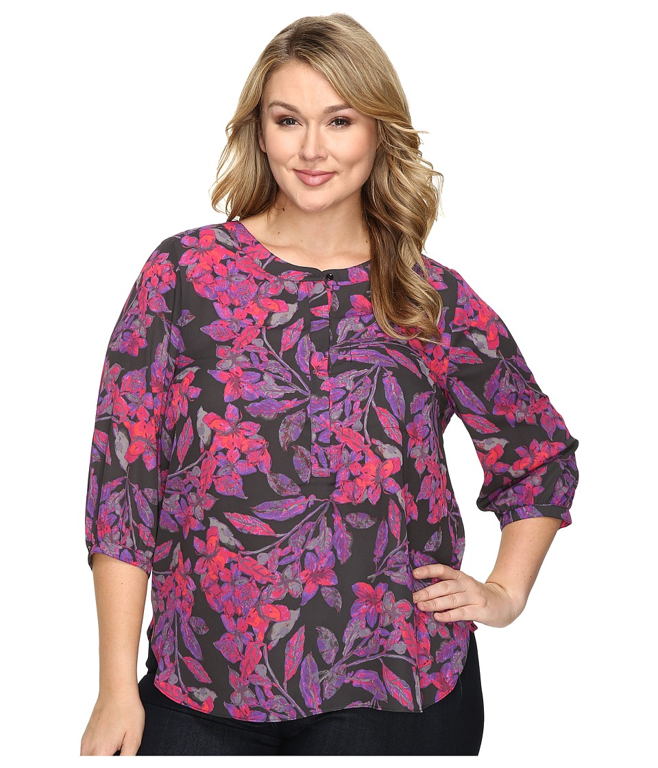 NYDJ Plus Size - Plus Size Solid 3/4 Sleeve Pleat Back (Eastern Garden Sportswear) Women's Long Sleeve Button Up