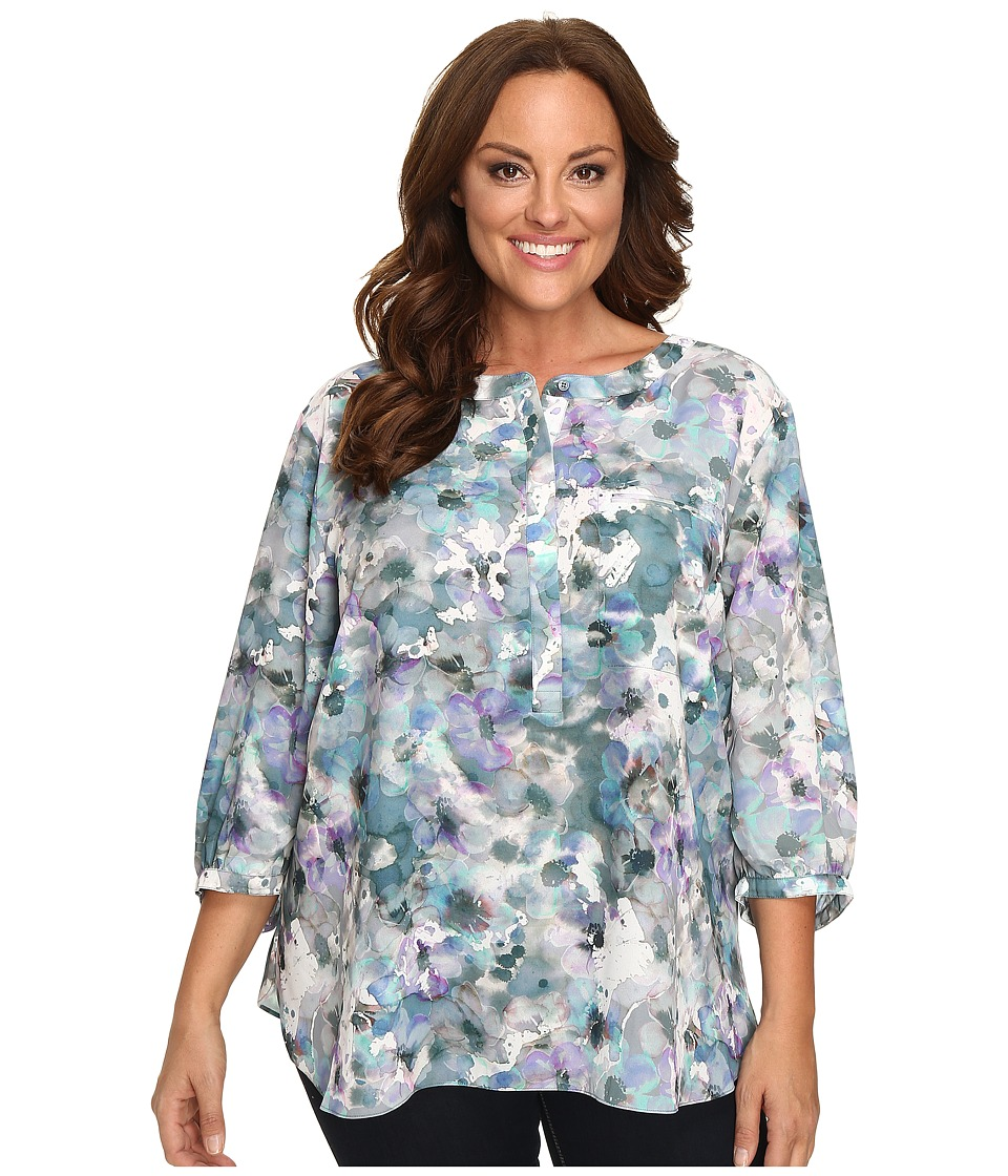 NYDJ Plus Size - Plus Size Solid 3/4 Sleeve Pleat Back (Winter Frost Petals) Women's Long Sleeve Button Up