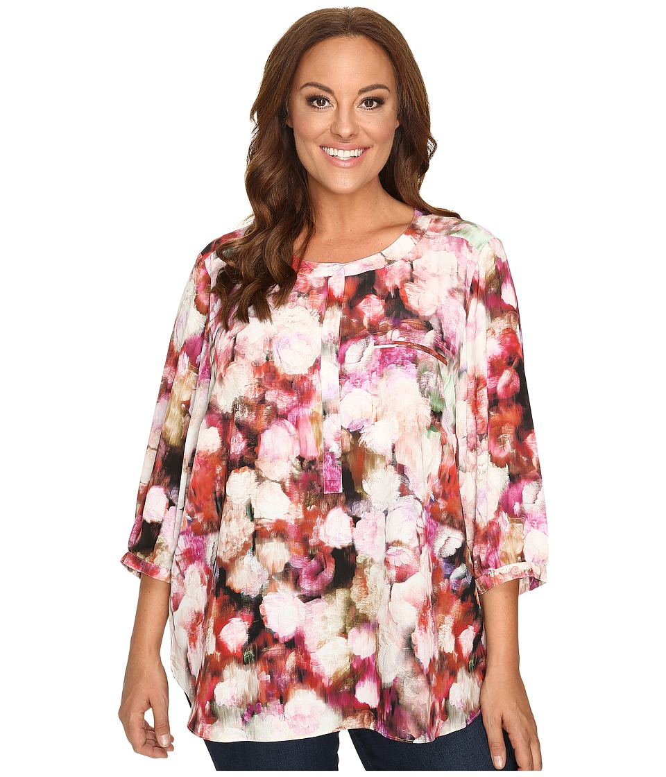 NYDJ Plus Size - Plus Size Solid 3/4 Sleeve Pleat Back (Renaissance Flora) Women's Long Sleeve Button Up